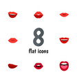 flat icon lips set of smile laugh mouth and vector image vector image