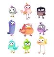 Funny cartoon standing birds set vector image
