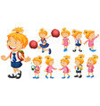 Girl in school uniform and other costumes vector image vector image