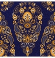 Golden and blue floral seamless pattern vector image vector image