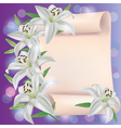 Greeting or invitation card with lily flowers vector image vector image
