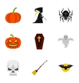 Halloween holiday icons set flat style vector image vector image