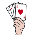 Hand holding playing card-gambling vector image