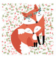 mother fox and baby in spring garden seamless vector image vector image