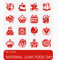 national junk food day icon set vector image vector image