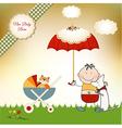 new baby invitation with umbrella