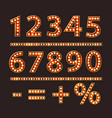 numbers with bulb lamps red light vector image vector image