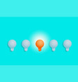 outstanding unique orange light bulb glowing vector image vector image