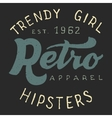 Retro trendy girl label vector image