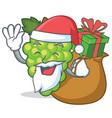 santa with gift green grapes mascot cartoon vector image vector image