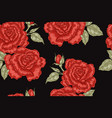 seamless pattern with red rose flowers on black vector image vector image