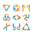 set of different colorful arrows isolated vector image vector image