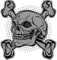 Skull and bones in background halftone vector image vector image
