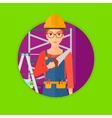 Smiling worker with saw vector image vector image