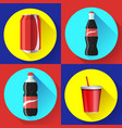 sweet water bottle set flat icon set vector image vector image
