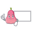 thumbs up with board rose apple character cartoon vector image vector image
