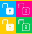 unlock sign four styles of icon on vector image vector image