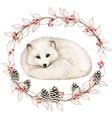 watercolor white arctic fox in a winter snowy vector image vector image