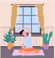 woman doing yoga on mat inside room young vector image