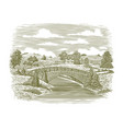 woodcut bridge scene vector image vector image