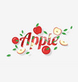 word apple design in paper art style vector image vector image