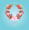 wreath of tulips on a white background vector image vector image