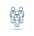 isolated linear icon of businessmen team vector image