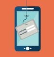 Data Phishing credit or debit card on fishing hook vector image