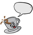 afraid coffee cup spill bubble vector image