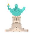 america yoga statue of liberty in lotus posture vector image