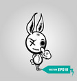 angry sewn voodoo bunny finger gesture thumb up vector image vector image