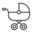 baby carriage line icon child and pram vector image vector image