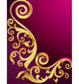 background with gold pattern and whorl vector image vector image
