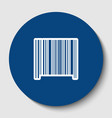 bar code sign white contour icon in dark vector image vector image