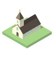 beautiful small isometric church vector image vector image