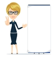 Business women is pointing to big blank paper vector image