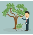 Businessman plucking money from tree vector image