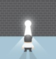 Businessman standing in front of keyhole vector image vector image