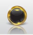 button web glossy black gold vector image vector image