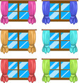 cartoon window with curtains symbol icon design vector image