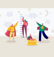 children in superhero costume play measures growth vector image vector image
