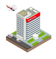 city hospital building with ambulance car and vector image vector image