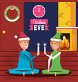 couple celebrating christmas in the house vector image