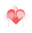 couple pink silhouette flamingo in love vector image