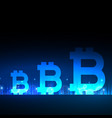 creative bitcoins design with blue light effect vector image vector image