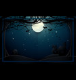 dark castle and old trees on full moon background vector image