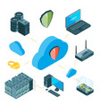 Data protection concept isometric cloud
