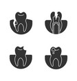 dentistry glyph icons set vector image vector image