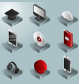 e-education color gradient isometric icons set vector image
