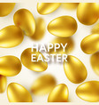 easter golden egg with confetti and calligraphic vector image vector image